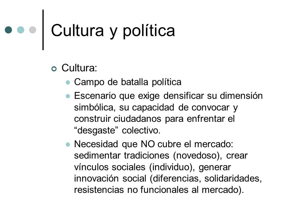 Cultura y política Cultura: Campo de batalla política Escenario que exige densificar su dimensión simbólica, su capacidad de convocar y construir ciud