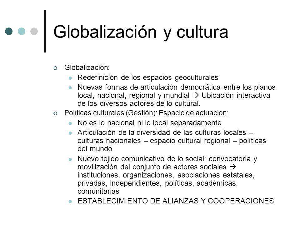Globalización y cultura Globalización: Redefinición de los espacios geoculturales Nuevas formas de articulación democrática entre los planos local, na
