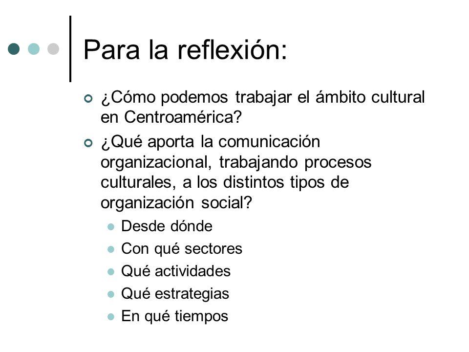Para la reflexión: ¿Cómo podemos trabajar el ámbito cultural en Centroamérica? ¿Qué aporta la comunicación organizacional, trabajando procesos cultura