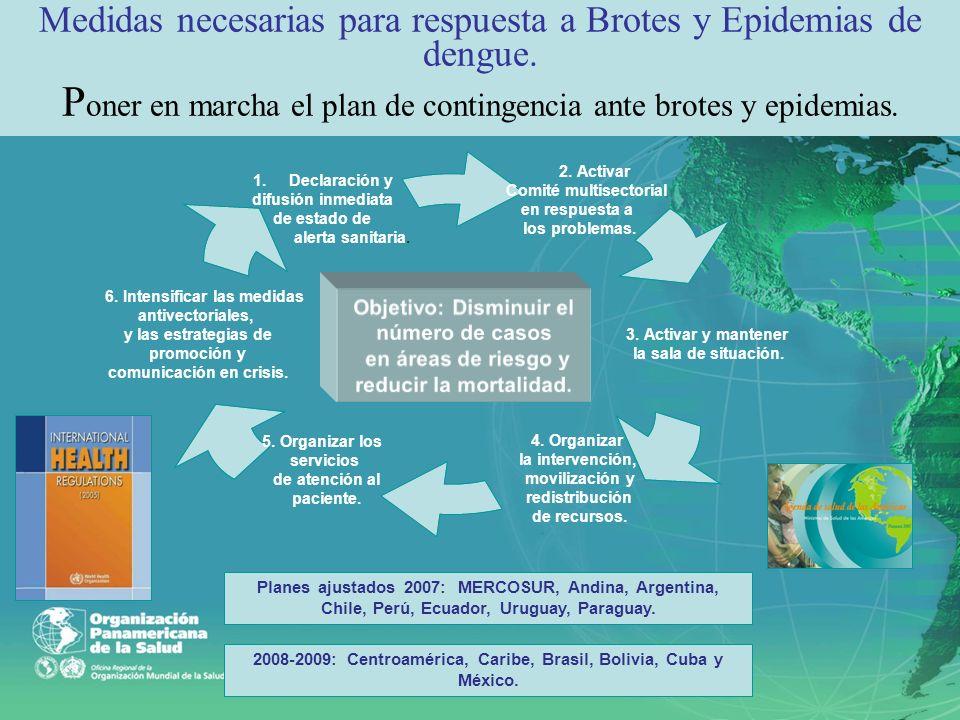 Objetivo: Disminuir el número de casos en áreas de riesgo y reducir la mortalidad. Medidas necesarias para respuesta a Brotes y Epidemias de dengue. P
