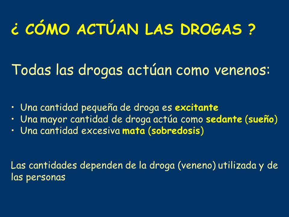 ¿ CÓMO ACTÚAN LAS DROGAS ? Todas las drogas actúan como venenos: Una cantidad pequeña de droga es excitante Una mayor cantidad de droga actúa como sed