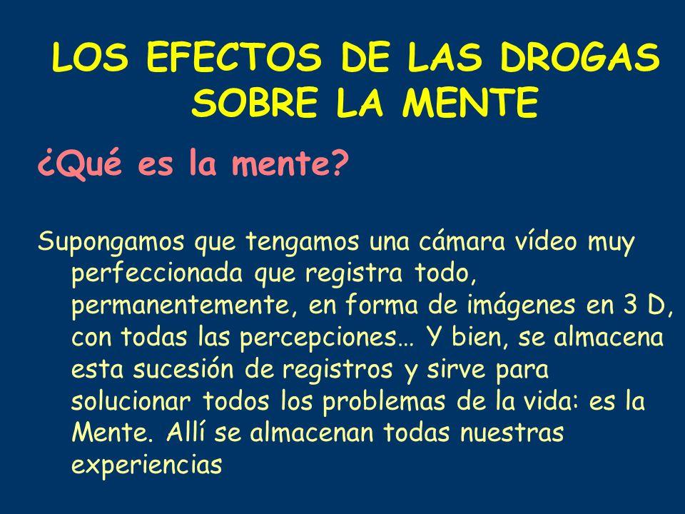 LOS EFECTOS DE LAS DROGAS SOBRE LA MENTE ¿Qué es la mente? Supongamos que tengamos una cámara vídeo muy perfeccionada que registra todo, permanentemen