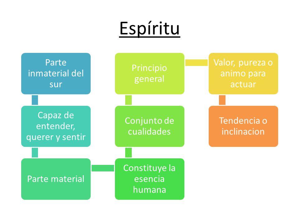 Espíritu Parte inmaterial del sur Capaz de entender, querer y sentir Parte material Constituye la esencia humana Conjunto de cualidades Principio gene