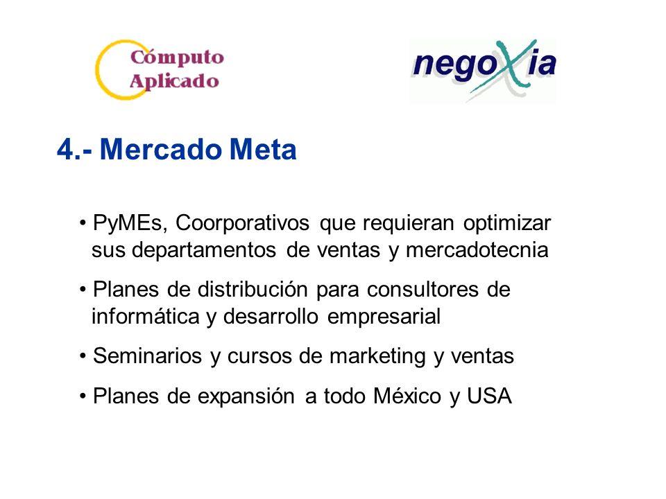 4.- Mercado Meta PyMEs, Coorporativos que requieran optimizar sus departamentos de ventas y mercadotecnia Planes de distribución para consultores de informática y desarrollo empresarial Seminarios y cursos de marketing y ventas Planes de expansión a todo México y USA