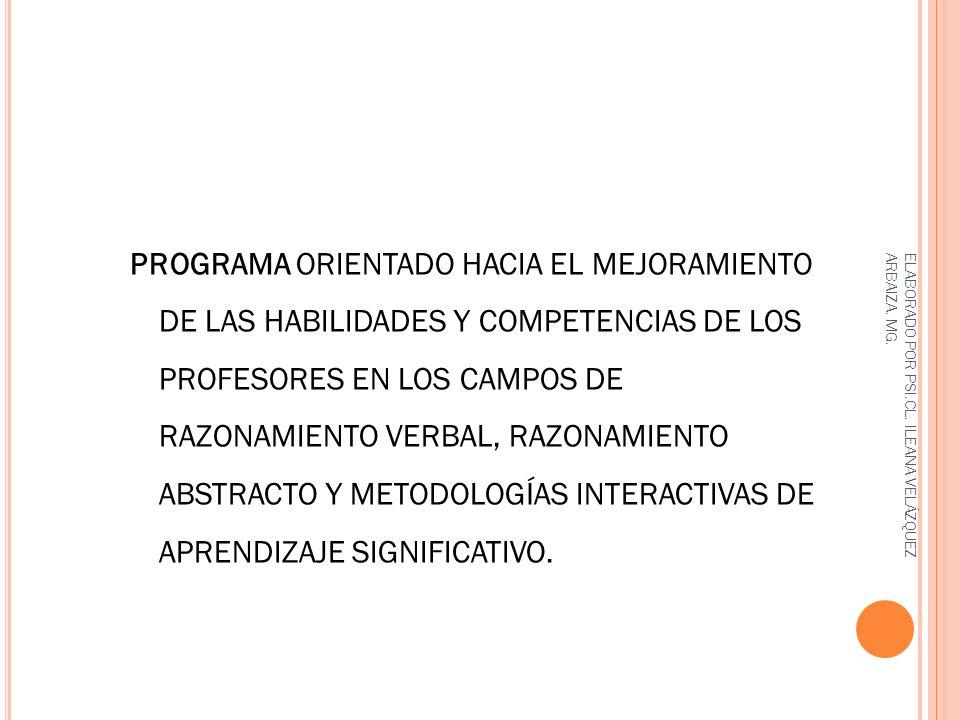 PROGRAMA ORIENTADO HACIA EL MEJORAMIENTO DE LAS HABILIDADES Y COMPETENCIAS DE LOS PROFESORES EN LOS CAMPOS DE RAZONAMIENTO VERBAL, RAZONAMIENTO ABSTRACTO Y METODOLOGÍAS INTERACTIVAS DE APRENDIZAJE SIGNIFICATIVO.
