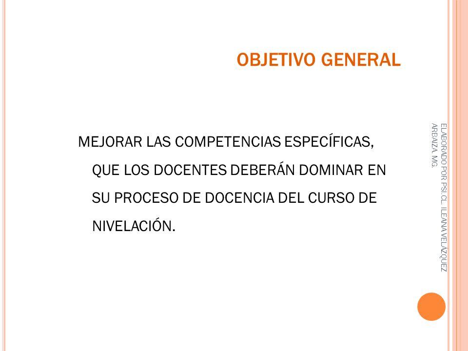 OBJETIVO GENERAL MEJORAR LAS COMPETENCIAS ESPECÍFICAS, QUE LOS DOCENTES DEBERÁN DOMINAR EN SU PROCESO DE DOCENCIA DEL CURSO DE NIVELACIÓN.