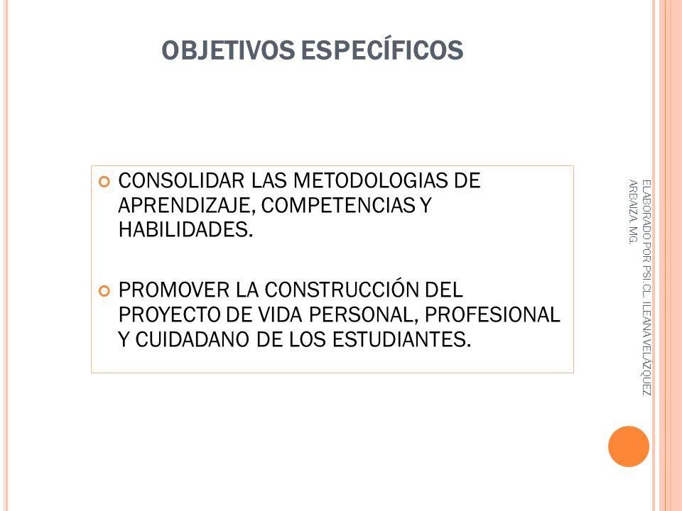 OBJETIVOS ESPECÍFICOS CONSOLIDAR LAS METODOLOGIAS DE APRENDIZAJE, COMPETENCIAS Y HABILIDADES.