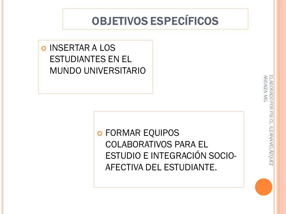 OBJETIVOS ESPECÍFICOS FORMAR EQUIPOS COLABORATIVOS PARA EL ESTUDIO E INTEGRACIÓN SOCIO- AFECTIVA DEL ESTUDIANTE.