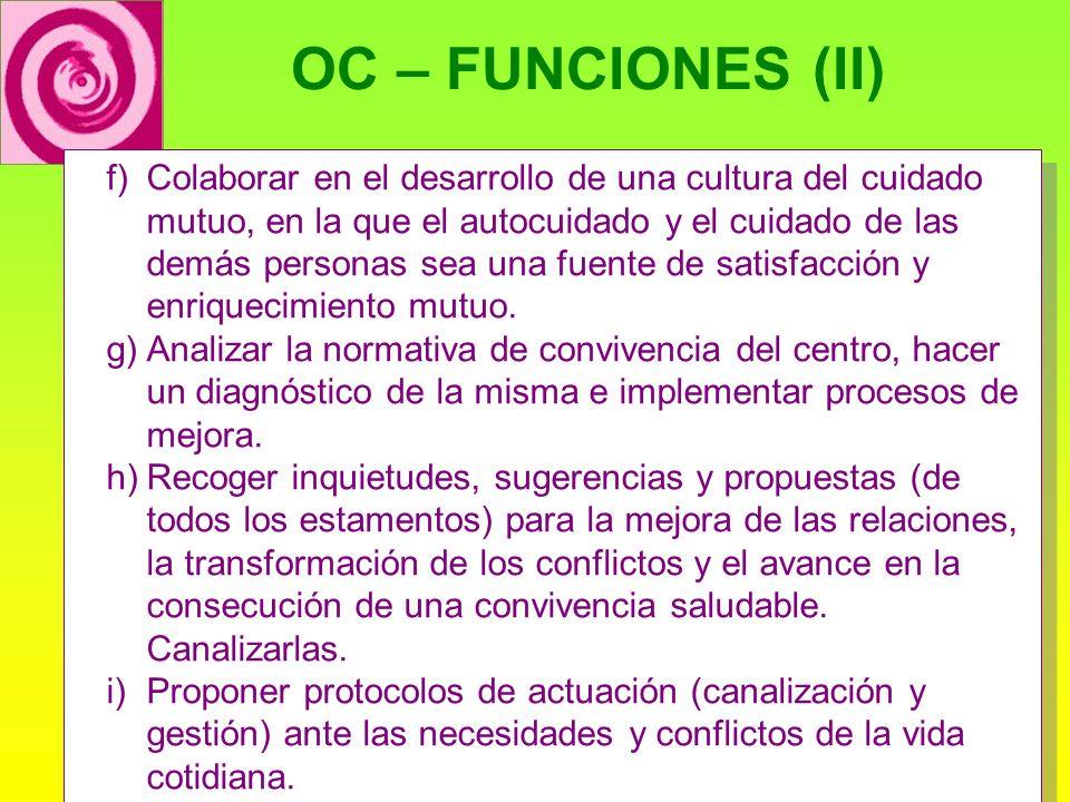 OC – FUNCIONES (II) f)Colaborar en el desarrollo de una cultura del cuidado mutuo, en la que el autocuidado y el cuidado de las demás personas sea una fuente de satisfacción y enriquecimiento mutuo.