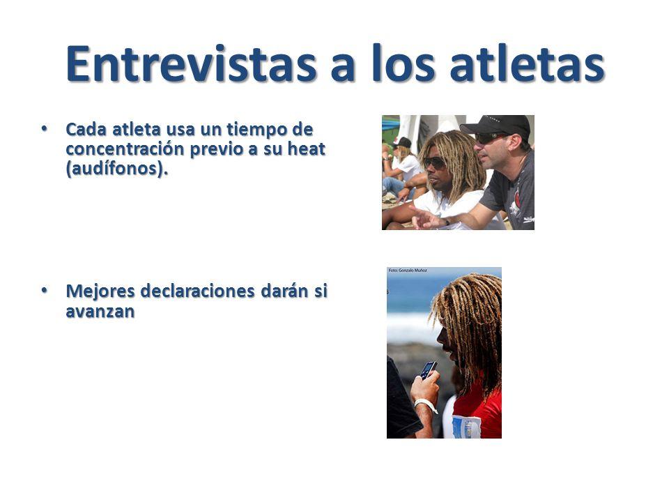 Entrevistas a los atletas Cada atleta usa un tiempo de concentración previo a su heat (audífonos).