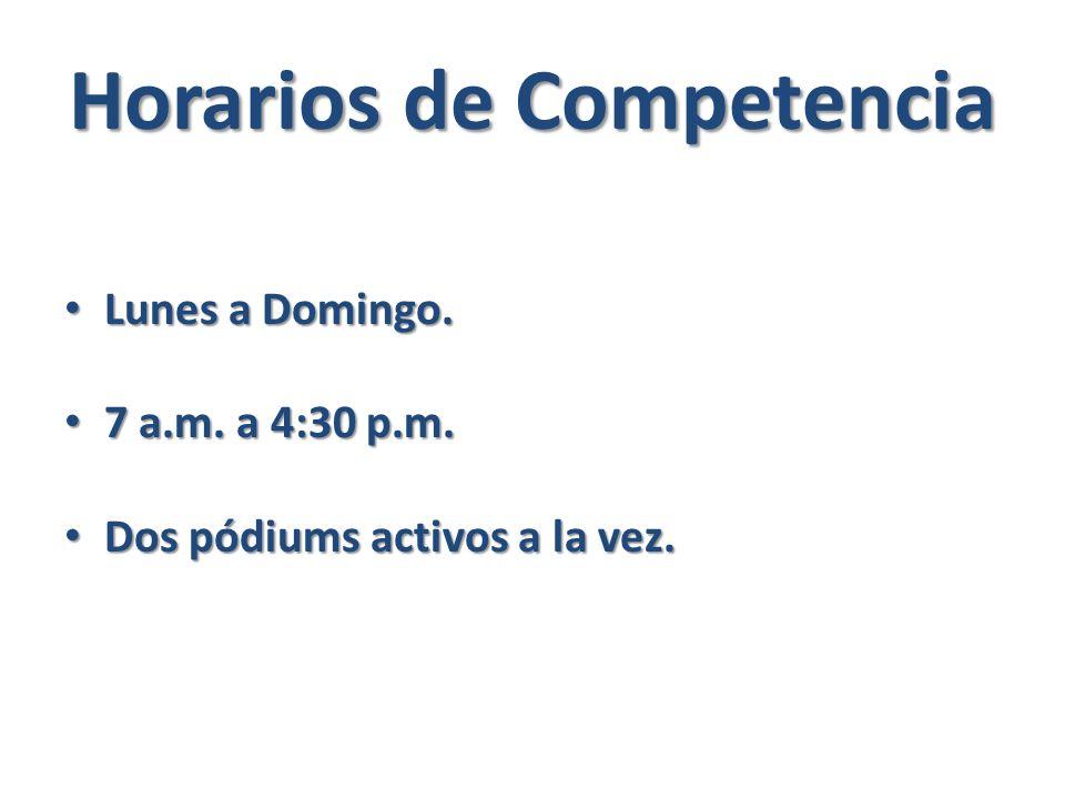 Horarios de Competencia Lunes a Domingo. Lunes a Domingo.