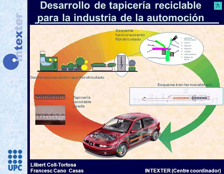 Llibert Coll-Tortosa Francesc Cano Casas INTEXTER (Centre coordinador) Desarrollo de tapicería reciclable para la industria de la automoción
