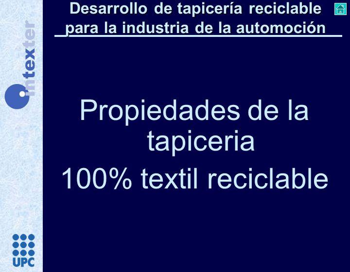 Propiedades de la tapiceria 100% textil reciclable Desarrollo de tapicería reciclable para la industria de la automoción