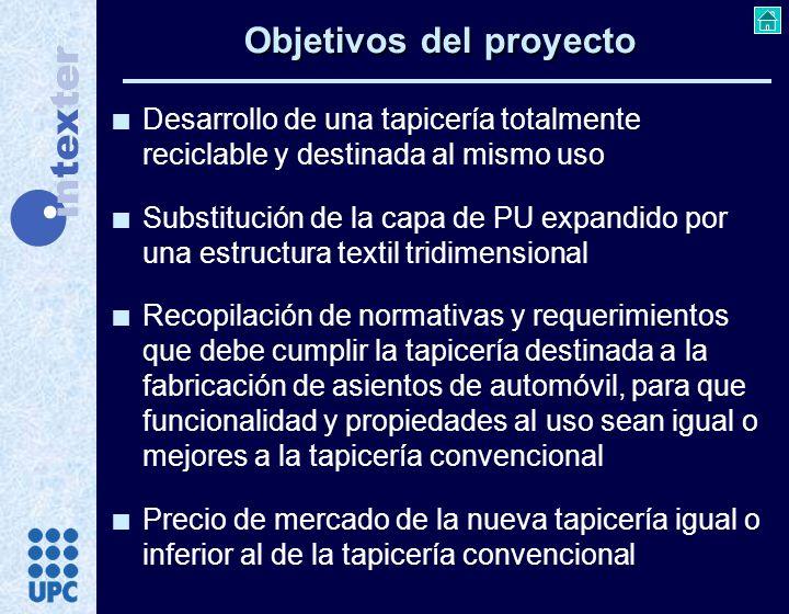 n Desarrollo de una tapicería totalmente reciclable y destinada al mismo uso n Substitución de la capa de PU expandido por una estructura textil tridi