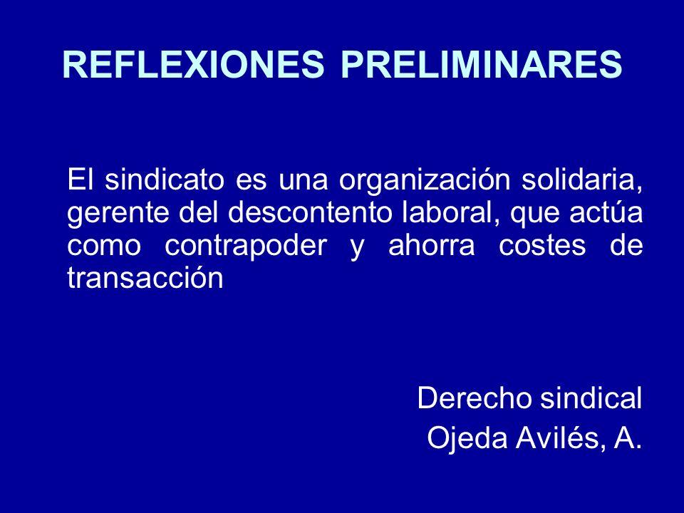 REFLEXIONES PRELIMINARES El sindicato es una organización solidaria, gerente del descontento laboral, que actúa como contrapoder y ahorra costes de tr