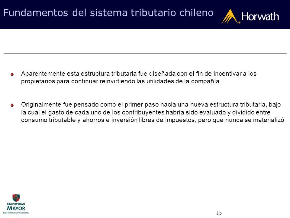 15 Fundamentos del sistema tributario chileno Aparentemente esta estructura tributaria fue diseñada con el fin de incentivar a los propietarios para c