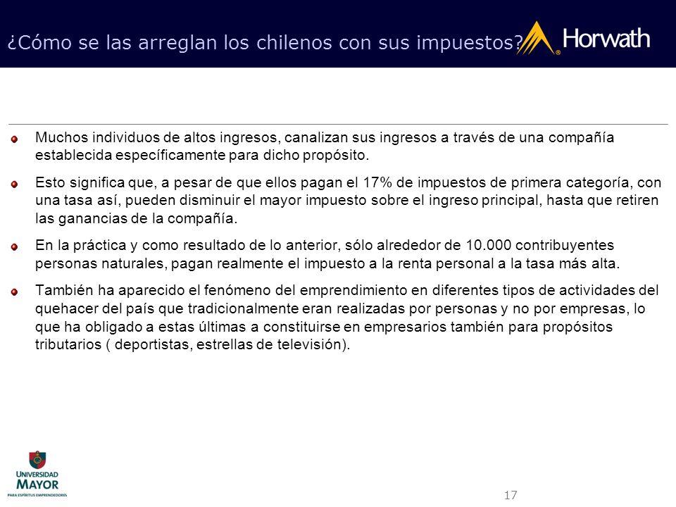 17 ¿Cómo se las arreglan los chilenos con sus impuestos? Muchos individuos de altos ingresos, canalizan sus ingresos a través de una compañía establec