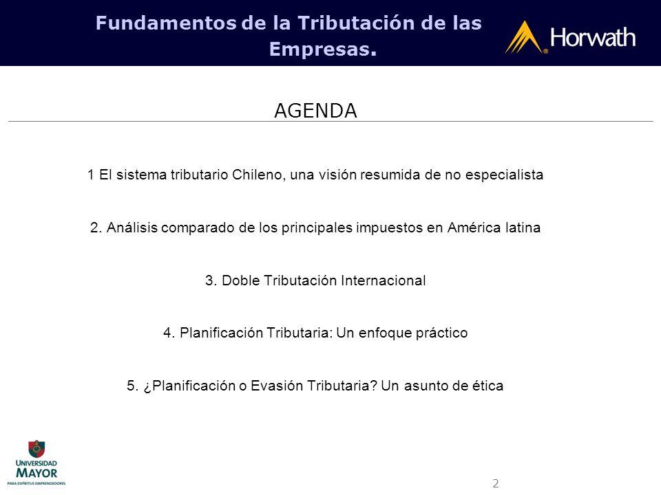 2 Fundamentos de la Tributación de las Empresas. AGENDA 1 El sistema tributario Chileno, una visión resumida de no especialista 2. Análisis comparado