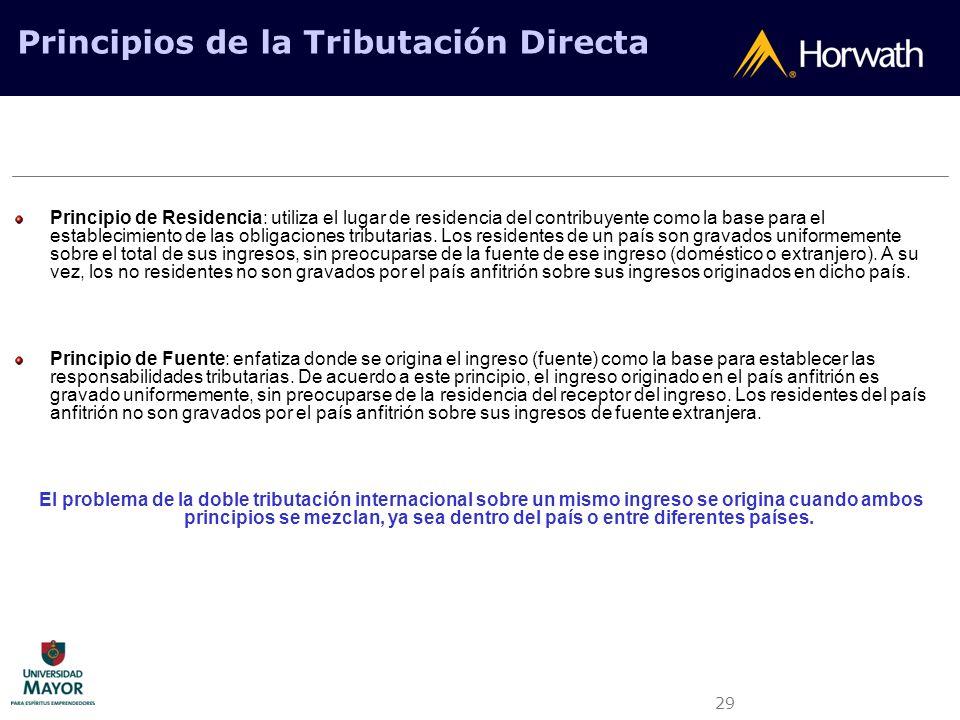 29 Principios de la Tributación Directa Principio de Residencia: utiliza el lugar de residencia del contribuyente como la base para el establecimiento