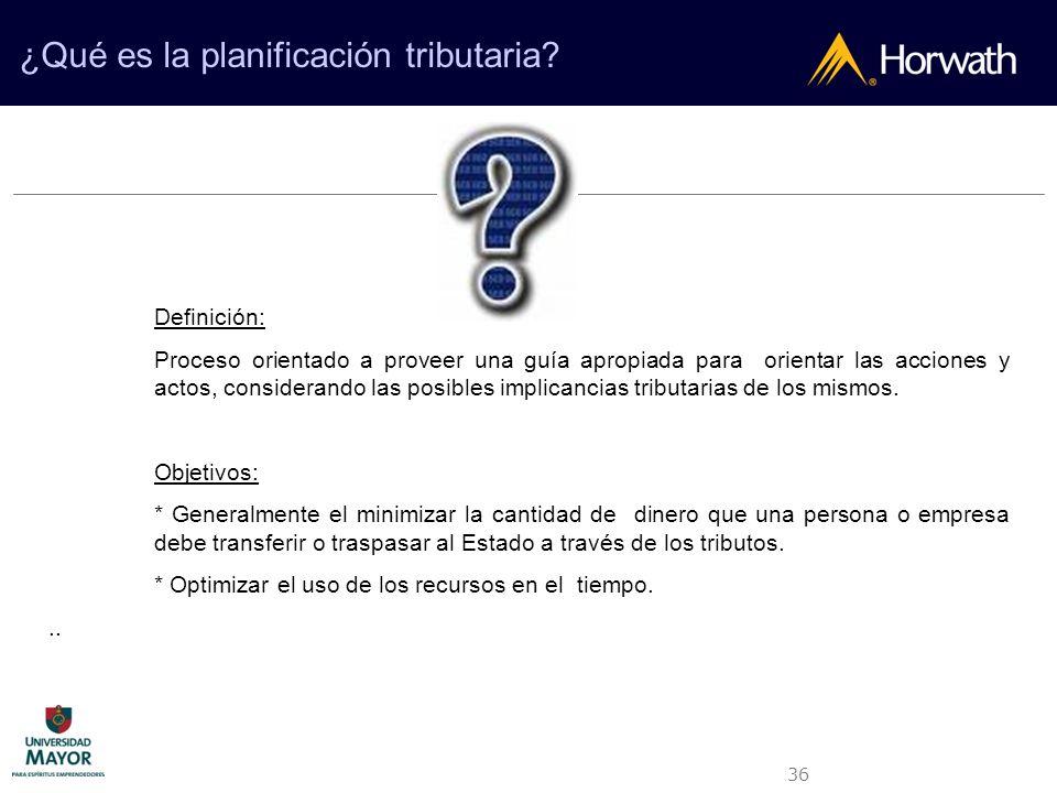 36 ¿Qué es la planificación tributaria? Definición: Proceso orientado a proveer una guía apropiada para orientar las acciones y actos, considerando la