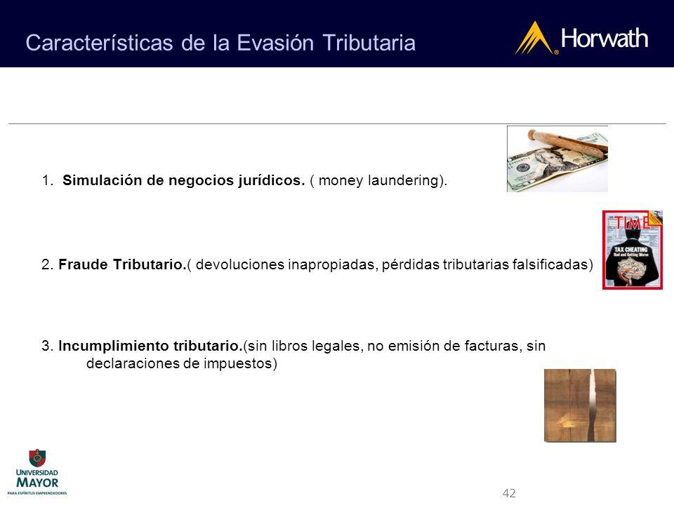 42 Características de la Evasión Tributaria 1. Simulación de negocios jurídicos. ( money laundering). 2. Fraude Tributario.( devoluciones inapropiadas