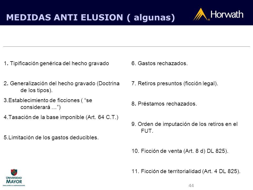 44 MEDIDAS ANTI ELUSION ( algunas) 1. Tipificación genérica del hecho gravado 2. Generalización del hecho gravado (Doctrina de los tipos). 3.Estableci
