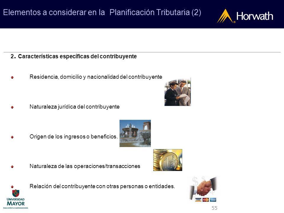 55 Elementos a considerar en la Planificación Tributaria (2) 2. Características específicas del contribuyente Residencia, domicilio y nacionalidad del
