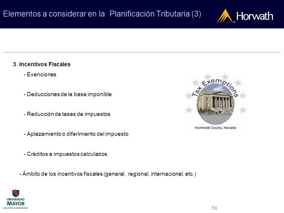 56 Elementos a considerar en la Planificación Tributaria (3) 3. Incentivos Fiscales - Exenciones - Deducciones de la base imponible - Reducción de tas