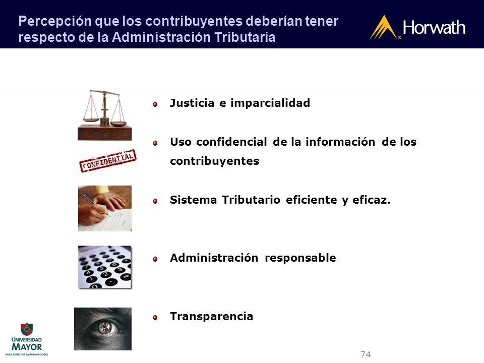 74 Justicia e imparcialidad Uso confidencial de la información de los contribuyentes Sistema Tributario eficiente y eficaz. Administración responsable