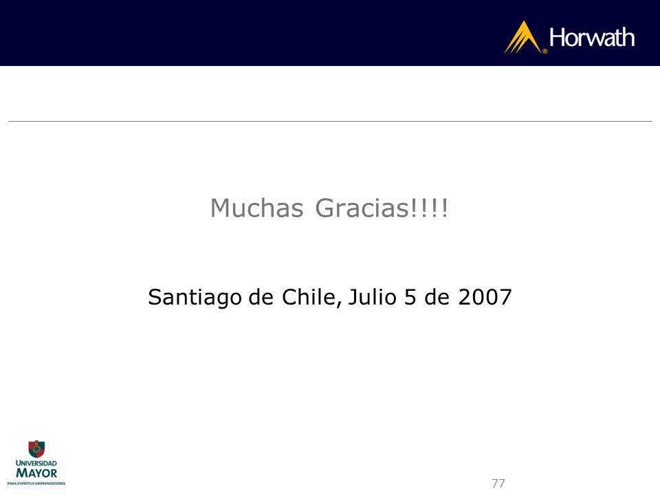 77 Muchas Gracias!!!! Santiago de Chile, Julio 5 de 2007