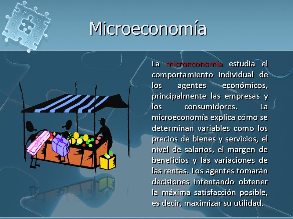 La microeconomía estudia el comportamiento individual de los agentes económicos, principalmente las empresas y los consumidores. La microeconomía expl