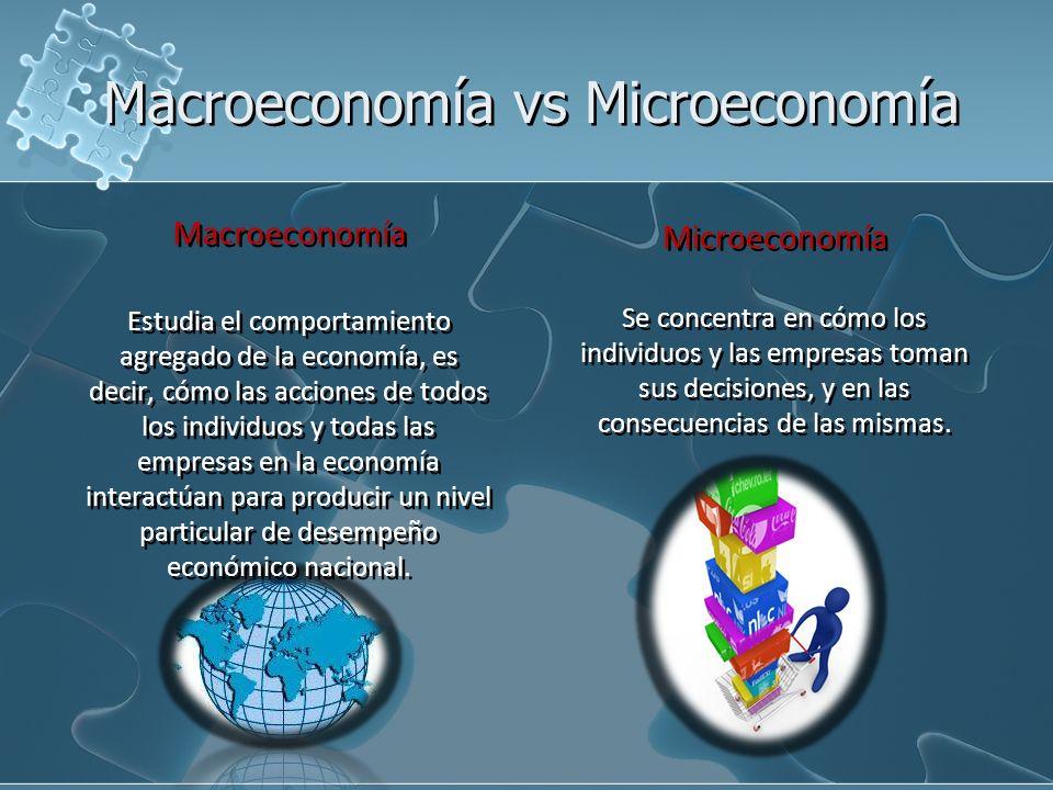 Macroeconomía vs Microeconomía Microeconomía Se concentra en cómo los individuos y las empresas toman sus decisiones, y en las consecuencias de las mi