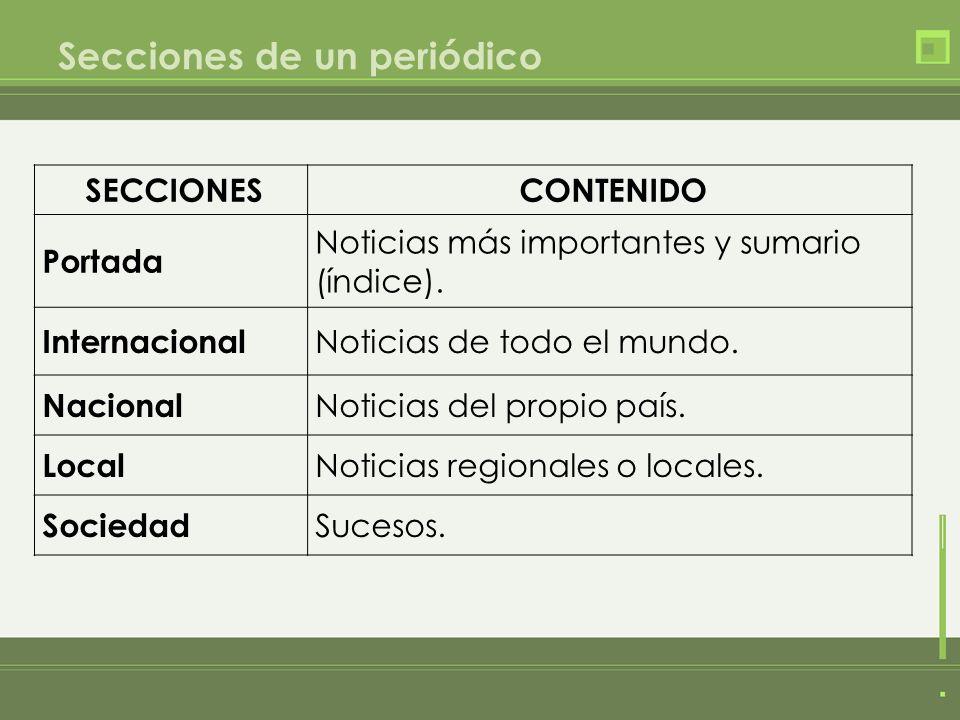 Secciones de un periódico SECCIONESCONTENIDO Portada Noticias más importantes y sumario (índice). Internacional Noticias de todo el mundo. Nacional No