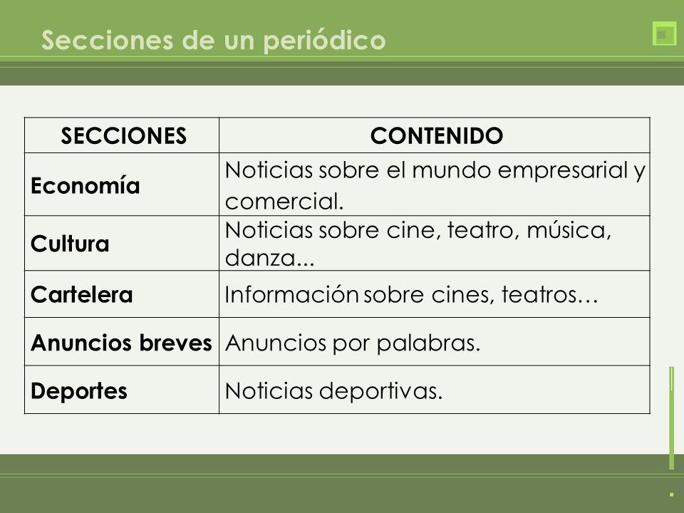 Secciones de un periódico SECCIONESCONTENIDO Economía Noticias sobre el mundo empresarial y comercial. Cultura Noticias sobre cine, teatro, música, da