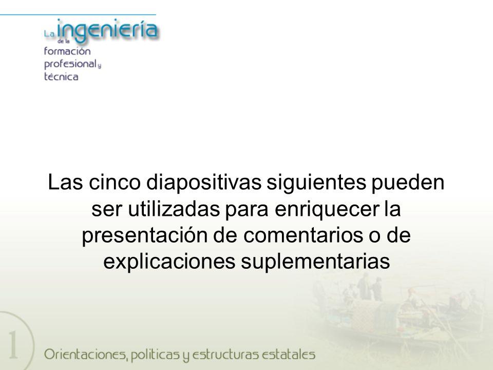 Las cinco diapositivas siguientes pueden ser utilizadas para enriquecer la presentación de comentarios o de explicaciones suplementarias