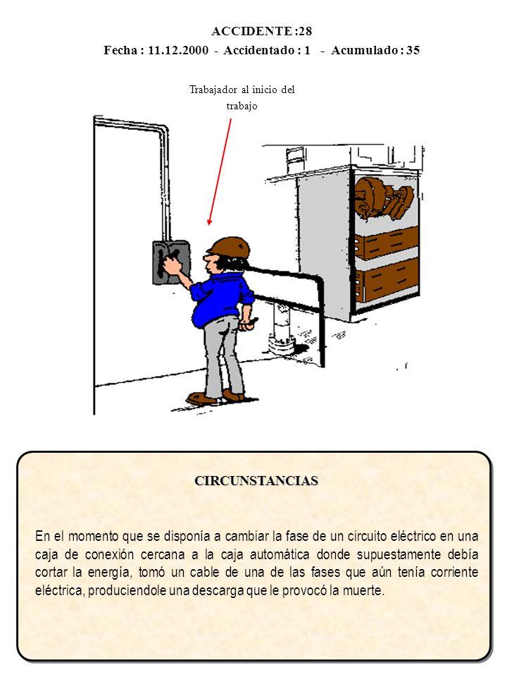 ACCIDENTE :28 Fecha : 11.12.2000 - Accidentado : 1 - Acumulado : 35CIRCUNSTANCIAS En el momento que se disponía a cambiar la fase de un circuito eléct
