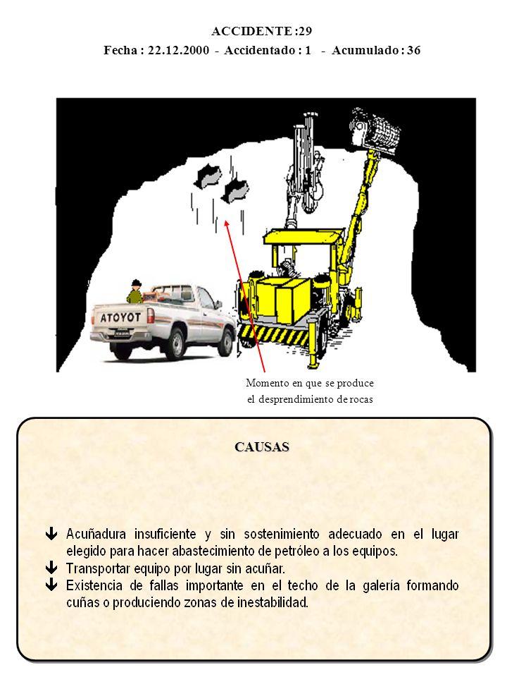ACCIDENTE :29 Fecha : 22.12.2000 - Accidentado : 1 - Acumulado : 36CAUSAS Momento en que se produce el desprendimiento de rocas