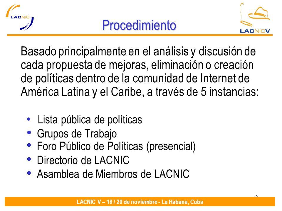 8 LACNIC V – 18 / 20 de noviembre - La Habana, Cuba Procedimiento Basado principalmente en el análisis y discusión de cada propuesta de mejoras, eliminación o creación de políticas dentro de la comunidad de Internet de América Latina y el Caribe, a través de 5 instancias: Lista pública de políticas Grupos de Trabajo Foro Público de Políticas (presencial) Directorio de LACNIC Asamblea de Miembros de LACNIC