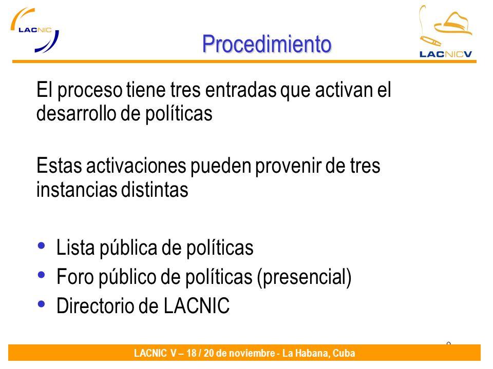 9 LACNIC V – 18 / 20 de noviembre - La Habana, Cuba Procedimiento El proceso tiene tres entradas que activan el desarrollo de políticas Estas activaciones pueden provenir de tres instancias distintas Lista pública de políticas Foro público de políticas (presencial) Directorio de LACNIC