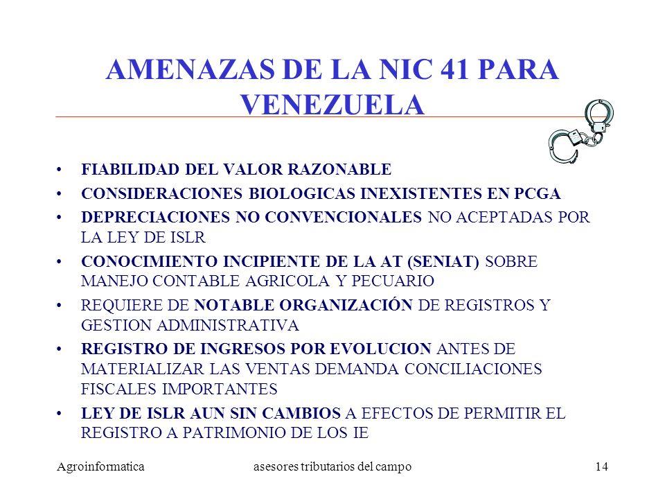 Agroinformaticaasesores tributarios del campo14 AMENAZAS DE LA NIC 41 PARA VENEZUELA FIABILIDAD DEL VALOR RAZONABLE CONSIDERACIONES BIOLOGICAS INEXIST