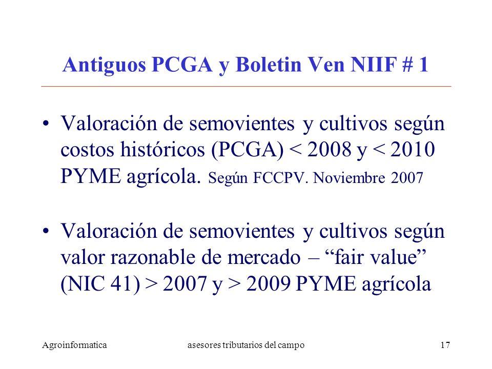 Agroinformaticaasesores tributarios del campo17 Antiguos PCGA y Boletin Ven NIIF # 1 Valoración de semovientes y cultivos según costos históricos (PCG
