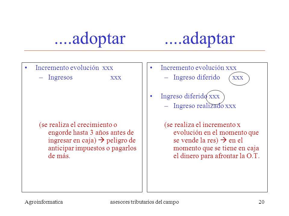 Agroinformaticaasesores tributarios del campo20....adoptar....adaptar Incremento evolución xxx –Ingresos xxx (se realiza el crecimiento o engorde hast
