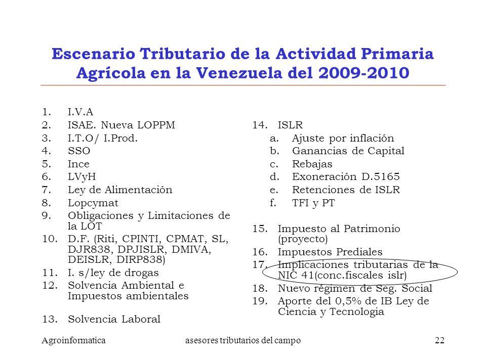 Agroinformaticaasesores tributarios del campo22 Escenario Tributario de la Actividad Primaria Agrícola en la Venezuela del 2009-2010 1.I.V.A 2.ISAE. N