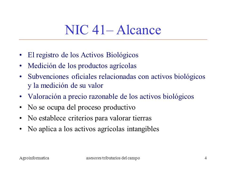 Agroinformaticaasesores tributarios del campo4 NIC 41– Alcance El registro de los Activos Biológicos Medición de los productos agrícolas Subvenciones