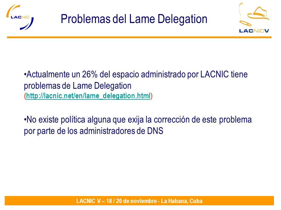 LACNIC V – 18 / 20 de noviembre - La Habana, Cuba Problemas del Lame Delegation Actualmente un 26% del espacio administrado por LACNIC tiene problemas de Lame Delegation (http://lacnic.net/en/lame_delegation.html)http://lacnic.net/en/lame_delegation.html No existe política alguna que exija la corrección de este problema por parte de los administradores de DNS