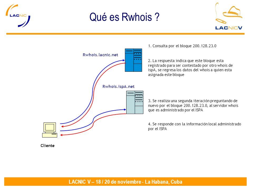 LACNIC V – 18 / 20 de noviembre - La Habana, Cuba Cliente Rwhois.lacnic.net 1. Consulta por el bloque 200.128.23.0 Rwhois.ispA.net 2. La respuesta ind