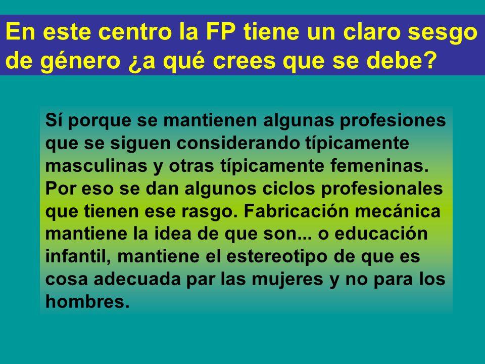 PREGUNTAS AL ROFESORADO En este centro la FP tiene un claro sesgo de género, ¿A qué crees que se debe? ¿Respecto a los alumnos y a las alumnas, las as