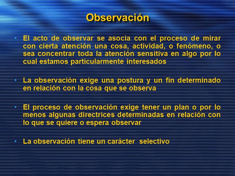 ObservaciónObservación El acto de observar se asocia con el proceso de mirar con cierta atención una cosa, actividad, o fenómeno, o sea concentrar tod