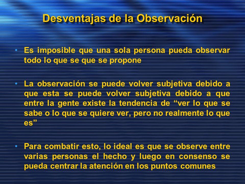 Es imposible que una sola persona pueda observar todo lo que se que se propone La observación se puede volver subjetiva debido a que esta se puede vol