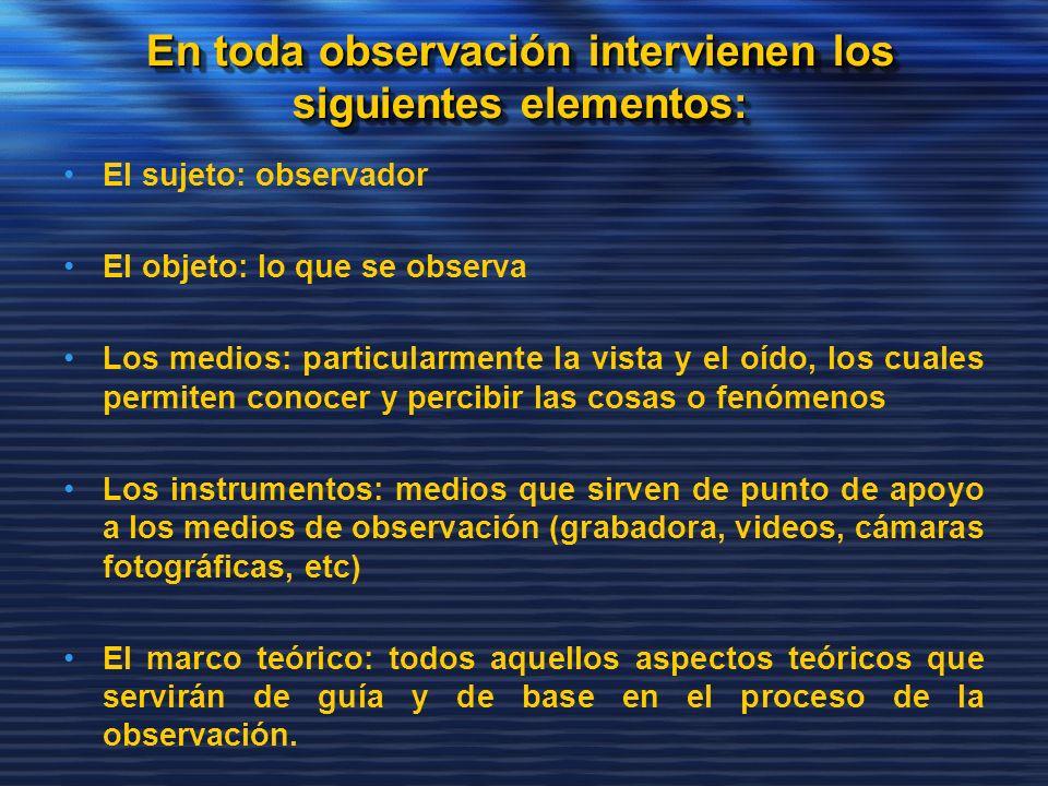 En toda observación intervienen los siguientes elementos: El sujeto: observador El objeto: lo que se observa Los medios: particularmente la vista y el